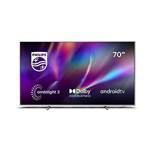 Philips Televisor Ambilight 70PUS8505/12, Smart TV de 70 pulgadas (4K UHD, P5 Perfect Picture Engine, Dolby Vision, Dolby Atmos, Control de voz, Android TV), Color plata claro (modelo de 2020/2021)