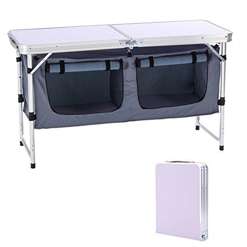 CampLand Outdoor Folding Table Aluminum Lightweight Height...