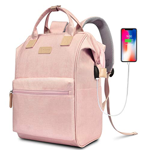 BRINCH Laptop Backpack 15.6 Inch Wide Open Computer Backpack Laptop Bag College Rucksack Water Resistant Business Travel Backpack Multipurpose Casual Daypack with USB Charging Port for Women,Pink