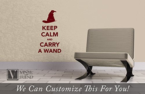 Keep Calm and Carry a Wand Harry Potter Decor a Vinyl Decal Sticker Lettering for laptops, Tablets and Walls 2325