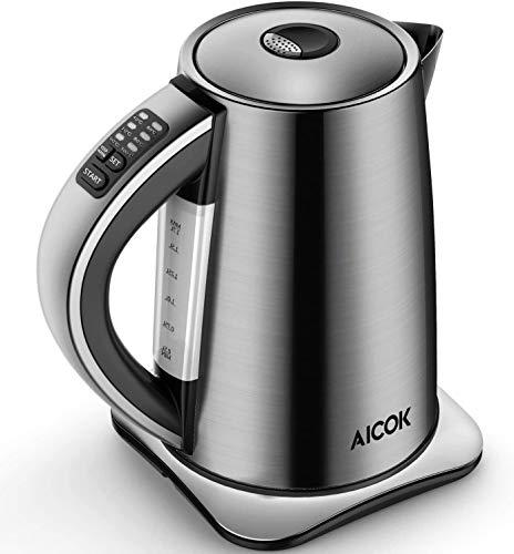 AICOK Bollitore Elettrico Temperatura Regolabile(40-100C), 1.7 L Bollitore in Acciaio Inox 2200W, Mantenere Caldo 120 Minuti, Arresto Automatico, BPA Free, Thermally Insulated Handle