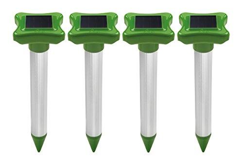 Gardigo Maulwurfschreck Solar 4er Set I Maulwurfabwehr I Maulwurfvertreiber mit Alu-Stab I Wühlmausvertreiber für den Garten