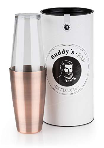 Buddys Bar - Boston Shaker, Bicchiere in Acciaio Inossidabile Rivestito esternamente in Rame Effetto...
