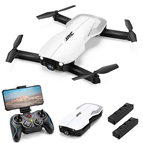 Drones with 1080P HD Camera for Adults,JJRC H71 RC Foldable Drone with 2 Batteries,Optical Flow Positioning Quadcopter with Carrying Case for Beginners-Headless Mode,Altitude Hold(White)