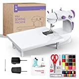 KPCB Tech Mini Sewing Machine with Extension Table Double Threads Sewing Kit Beginner Friendly