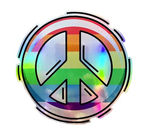 WickedGoodz Rainbow Peace Symbol Holographic Vinyl Decal - Love Bumper Sticker - for Laptops Tumblers Windows Cars Trucks Walls