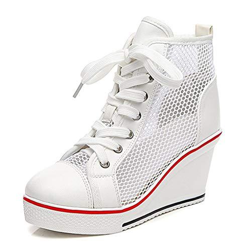 Zapatillas De Lona para Mujer, Zapatillas Altas, con Cordones, Zapatos Deportivos Casuales, Plataforma De Malla, Tacones Altos, Zapatillas De Verano Transpirables Y Huecas