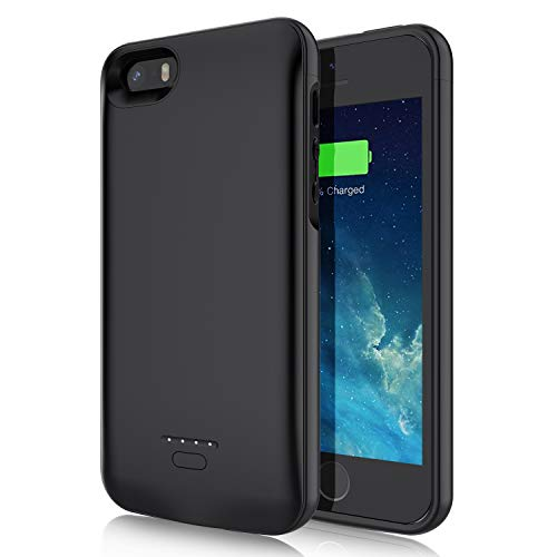 JUBOTY Battery Case for iPhone 5 5S SE, 4000mAh Slim Protective Charging Case Compatible with iPhone 5 5S SE Portable Rechargeable Battery Charger Case(4'', Not Compatible with SE 2)
