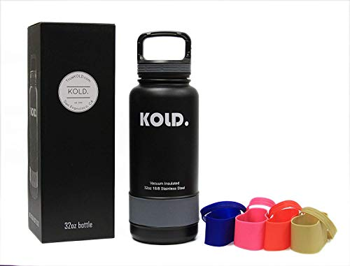 KOLD. Sports Water Bottle 18oz - 40oz Vacuum Insulated Stainless Steel Sports Bottle, Wide Mouth, with Caribiner Handle Lid, and 5 Different Colored Silicone Sleeves (32oz)
