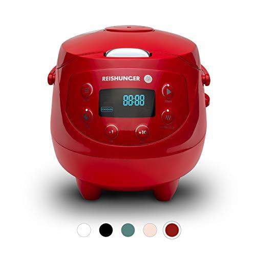 Digitaler Reishunger Mini Reiskocher (0,6l/350W/220V) Multikocher mit 8 Programmen, 7-Phasen-Technologie, Premium-Innentopf, Timer- und Warmhaltefunktion – Reis für bis zu 3 Personen (Rot)