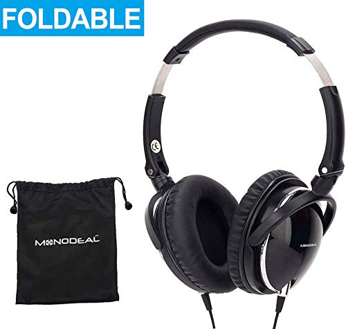 Active Noise Cancelling Headphones with Mic, MonoDeal Over Ear Deep Bass Earphones, Folding and Lightweight Travel Headset with Carrying Case - Black 85% Background Noise Reduction