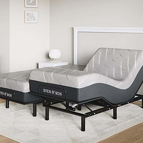 "Sven & Son Split King Essential Adjustable Bed Base Frame + 14"" Luxury Cool Gel Memory Foam Hybrid Mattress, Wireless, 5 Minute Assembly, Head & Foot Articulation (Split King + 14' Mattress)"