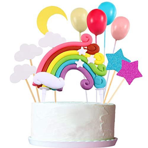 Zonon Cupcake Topper Set, Includere Palloncino a Forma Arcobaleno Nuvola Luna Stella Cupcake Topper Bastoncini per Compleanno Nozze Festa Torta Decorazione