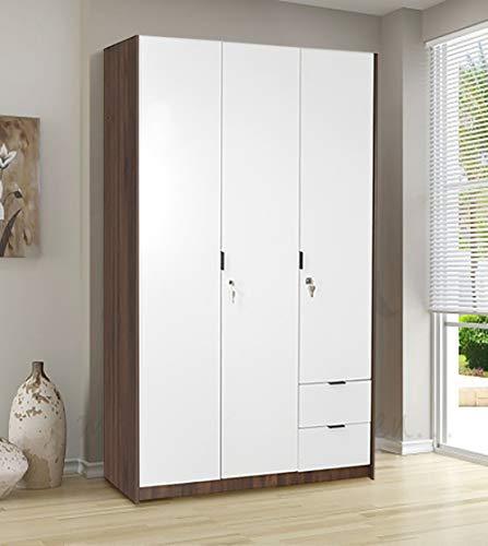 @home by Nilkamal Avery 3 Door Wardrobe, Wenge & White