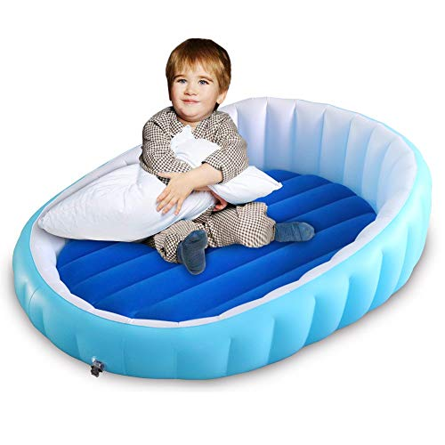 WEY&FLY Inflatable Toddler Travel Bed with Security Rails, Portable Ideal Kids Blow Up Air Mattress Airbed with Safety Bumpers, Cozy Air Mattress Perfect for Travel, Camp or Home, Kids Shell Bed