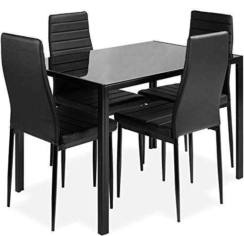 DKLGG 5-Piece Kitchen Dining Table Set for Dining Room, 4 Faux Leather Metal Frame Chairs, Dinette, Compact Space w/Glass Tabletop
