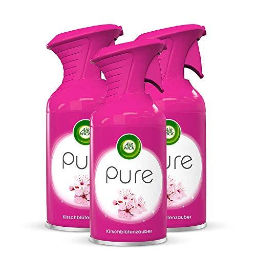 Air Wick PURE Kirschblütenzauber – Blumig-frisches Duftspray geruchsneutralisierend & ohne feuchten Niederschlag – Duft: Kirschblüte – 3 x 250 ml