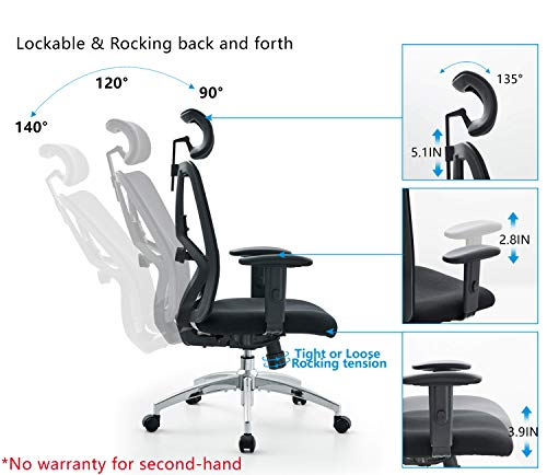 Product Image 2: Ticova Ergonomic Office Chair - High Back Desk Chair with Adjustable Lumbar Support & Thick Seat Cushion - 130°Reclining & Rocking Mesh Computer Chair with Adjustable Headrest, Armrest
