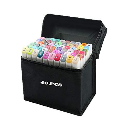 80 pennarelli colorati con punta doppia (fine o larga), indelebili, con astuccio nero 40 colori.