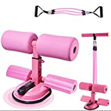 genrice Super Suction Large Suction Cup Sit Up Exercise Equipment with Resistance Bands Assistant Workout Yoga Perfect for Leg Puller/Sit-Ups/Arm Stretch/Abdominal Exercise at Home(Pink)