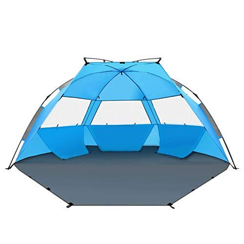 TAGVO Pop Up Strandmuschel, schnell aufzubauender Sonnenschutz, Quick Bay Strand-Zelt mit UV-Schutz, Quick Shell Strandmuschel und Sonnenschirm Strandzelt 3 Mesh Bildschirm Windows Gute Belüftung