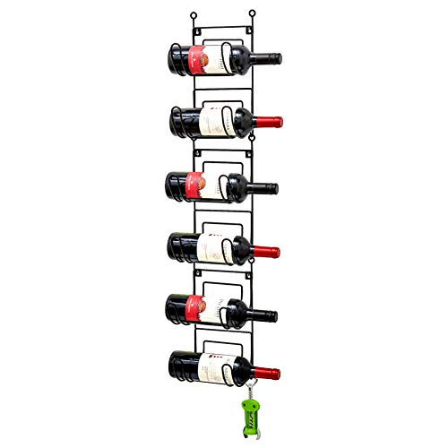 EZOWare Porta Bottiglie di Vino da Parete, Porta Asciugamani da Appendere 6 Ripiani Salvaspazio Multiuso a 6 Piani per Asciugamani Arrotolati, Bottiglie di Vino, Espositore Portaoggetti - Nero