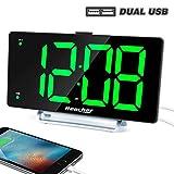 Large Alarm Clock 9' LED Digital Display Dual Alarm with USB Charger Port 0-100 Dimmer for Seniors Simple Bedside Big Number Green Alarm Clocks for Bedrooms
