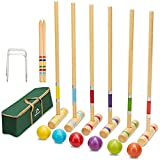 ApudArmis Six Player Croquet Set with Premium Pine Wooden Mallets 28In,Colored Ball,Wickets,Stakes - Lawn Backyard Game Set for Adults/Kids/Family (Large Carry Bag Including)