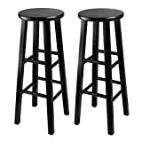 Winsome 29-Inch Square Leg Bar Stool, Black, Set of 2
