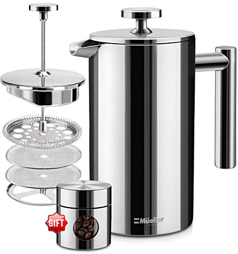 Mueller French Press Double Insulated 310 Stainless Steel Coffee Maker 4 Level Filtration System, No Coffee Grounds, Rust-Free, Dishwasher Safe 2