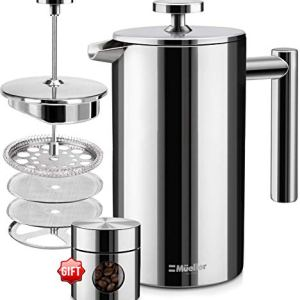 Mueller French Press Double Insulated 310 Stainless Steel Coffee Maker 4 Level Filtration System, No Coffee Grounds, Rust-Free, Dishwasher Safe 1