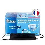 KB MEDICA - Masques chirurgicaux Type 2R IIR - Fabriqués En France - Boîte De 50 Masques Jetables Noir