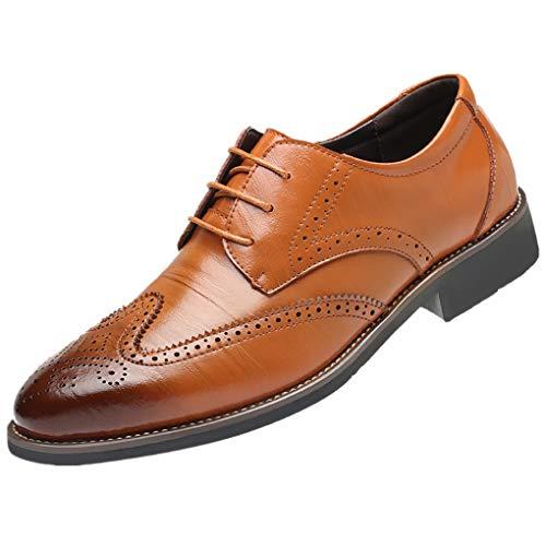 Dorical Lederschuhe Herren,Männer Business Schuhe Hochzeit Schnürhalbschuhe Elegant Oxford Anzug Leder Derby Männer Lackleder Kunstlederschuhe Schwarz Brown 37-48 Sale(Braun,48)