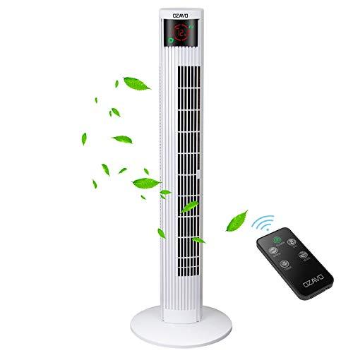 OZAVO Ventilateur Tour Télécommande Hauteur 95cm, Ventilateur Colonne Silencieux Oscillation Sans Bruit Écran LED & Minuterie - 3 Modes et Vitesses - Blanc