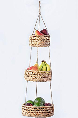 BASE ROOTS 3 Tier hängenden Korb | natürliche Woven seegras körbe | küche Obst-Speicher-organisator | pflanzenhalter | handgemachte Moderne Boho wohnkultur | aufsatz- Space Saver für Obst oder gemüse