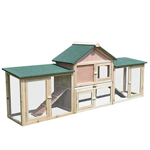 PawHut 83L 2-Story XL Wooden Deluxe Rabbit Bunny House Outdoor Hutch Pet Cage