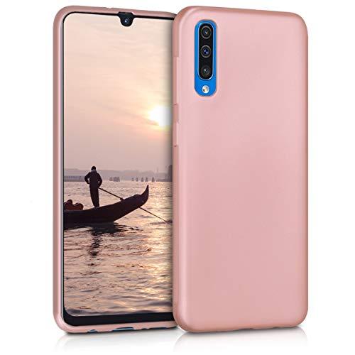 kwmobile Cover Compatibile con Samsung Galaxy A50 - Protezione Back Case Silicone TPU Effetto Metallizzato - Cover Custodia Morbida Oro Rosa Metallizzato
