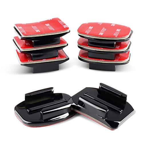 HSU - Supporto adesivo per fotocamere GoPro, 4 x curve, 4 x supporti piatti con cuscinetti adesivi 3M, supporti adesivi per casco per GoPro Hero 9, 8, 7, 6, 5, 4, 3+ 3