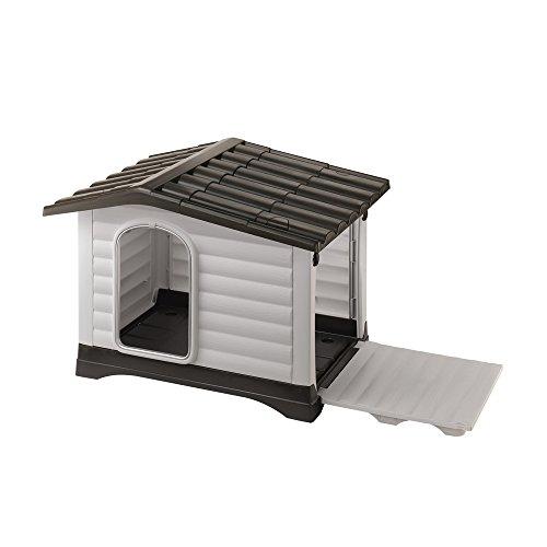 Ferplast Niche pour Chiens, pour L'Extérieur, Dogvilla70, Habitat pour Chiens avec Panneaux Latérales  Pouvant Être Ouverts Porte Anti-Morsures en Aluminium, 73 X 59 X H 53 cm