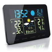 Bearware - Stazione Meteorologica Compatta con Display a Colori e sensore Esterno - Temperatura Interna ed Esterna - Touch - Barometro con compensazione dell'altitudine - Allarme Gelo - 2 allarmi