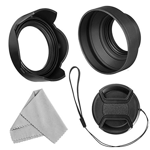 Veatree 58mm Lens Hood Set, Collapsible Rubber Lens Hood with...