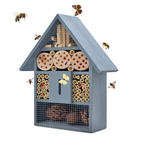 NATURAIS Insektenhotel, aus Natürlichen Materialien, Bienenhaus Marienkäferhaus Schmetterlingshaus, für Verschiedene Fluginsekten, Naturbelassenes Insektenhaus