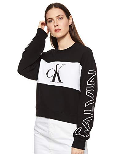Calvin Klein Jeans Damen Blocking Satement Logo Crew Neck Pullover, CK...