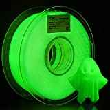 AMOLEN PLA 3D Printer Filament, 1.75mm, Glow in The Dark Green 1 kg Spool, Includes Sample Wood Filament