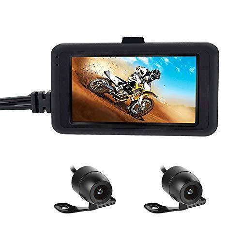 3T6B Registratore per Moto, Biker da Camera Motorcycle Dash Cam registratore Video1080p Dual Lens Motorcycle Dash Cam Sport Action Camera 7,6 cm LCD 170 Gradi Angolo di Visione Notturna