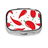 Caja de píldoras Pimienta de chile rojo aislada Estuche de píldoras lindo Píldora diaria Portátil para monedero de bolsillo Maletín Caja de píldoras de viaje