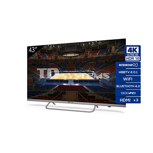 Televisiones Smart TV 43 Pulgadas 4K Android 9.0 y HBBTV, 1300...