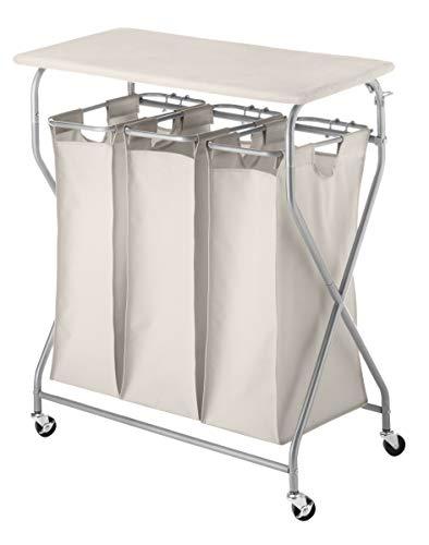 Whitmor Easy-Lift Triple Folding Table Laundry Sorter, W, Tan