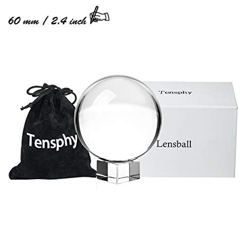 "Englens K9 Crystal Ball with Stand 80 mm / 3.15 inch Clear Art Decor K9 Crystal Prop for Photography Decoration  (2.4 ""/ 60 mm)"