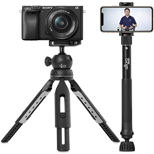 "6 in 1 Monopod Tripod Kit by Altura Photo – 55"" Telescoping Vlogging Tripod for Camera, Smartphone & GoPro Tripod, Camera Holder, Camera Stick with Pole & Base, 360 Ball Head and Carry Bag"